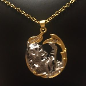 SS 2 Toned Spiritual Baby Tiger Pendant necklace